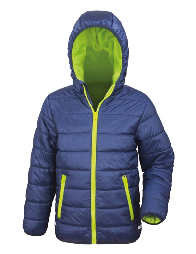 R233J•CORE JUNIOR PADDED JACKET, L, navy/lime (14)